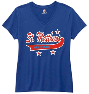 St Matthews All Star Ladies Booster/Parent Royal V-neck shirt
