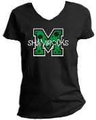 St Martha Shamrock M with polka dots Ladies Black V neck