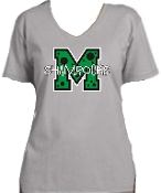 St Martha Shamrock M with polka dots Ladies Gray V neck