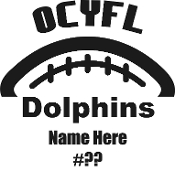 OCYFL Junior Dolphins Car decal includes player name and number