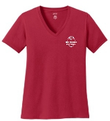 Noe Middle LADIES CUT 100% cotton Red V neck LPC54V