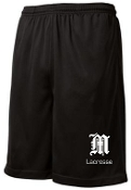 Manual Lacrosse Black pocketed 9 in shorts ST312