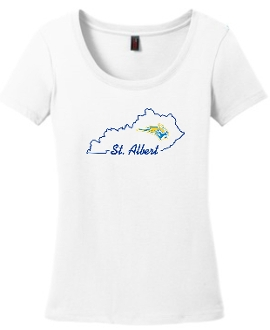 St. Albert state outline Ladies White scoop neck DM106L