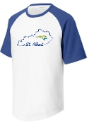 St. Albert White t with royal sleeves state outline T201