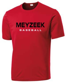 Meyzeek Baseball Red Cationic Moisture wicking T shirt ST 350