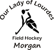 Vinyl sticker - Female Field Hockey with school name arched