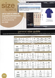 Lyndon Lightning Augusta garments size chart