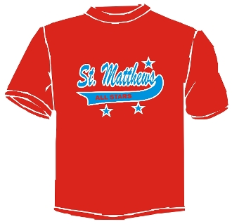 St Matthews All Star Booster/Parent Red Wicking t-shirt