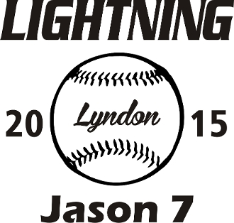Lyndon Lightning Car decal includes player name & #.