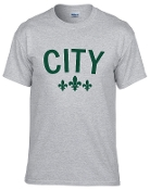 City sports gray tshirt with Forest green logo