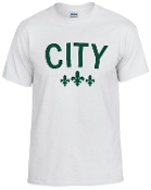City white tshirt with Forest green logo