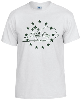 Falls City white tshirt with Forest Green logo