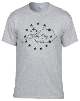 Falls City gray tshirt with Forest Green logo