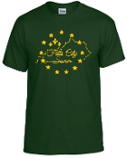 Falls City Forest Green tshirt with Gold logo