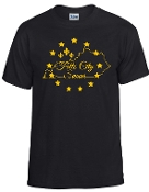 Falls City Black tshirt with Gold logo