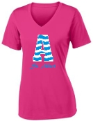 St. Albert Pink Chevron V neck LST 353
