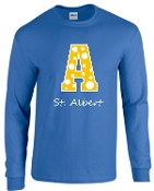 St. Albert Long sleeve Royal Polka Dots T shirt G2400