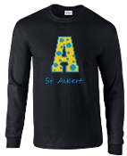 St. Albert Long sleeve Black Polka Dots T shirt G2400