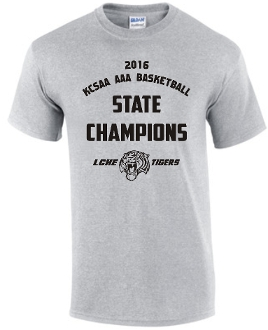 LCHE Tigers STATE CHAMPION Sport Gray T shirt G8000