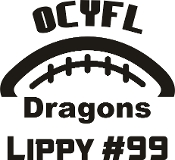 OCYFL Dragons Car decal includes player name & #.
