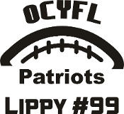 OCYFL Patriots Car decal includes player name & #.