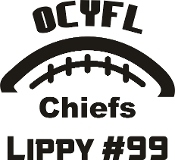 OCYFL Chiefs Car decal includes player name and number