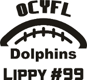 OCYFL Dolphins Car decal includes player name and number