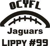 OCYFL Jaguars Car decal includes player name and number