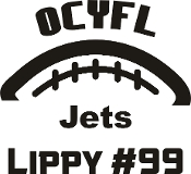 OCYFL Jets Car decal includes player name and number