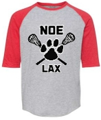 Noe Middle Lax Youth Heather Red 3/4 sleeve tshirt 6130