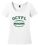 OCYFL Dragons Ladies White scoop neck DM106L