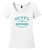 OCYFL Mustangs Ladies White scoop neck DM106L