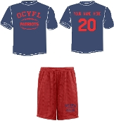 OCYFL Patriots Player pack shirt and shorts ST 350/355