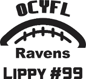 OCYFL Ravens Car decal includes player name & #.