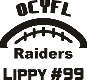 OCYFL Raiders Car decal includes player name and number