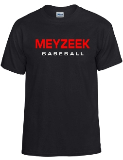 Meyzeek Baseball 50/50 poly cotton blend black t-shirt G8000