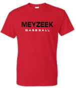 Meyzeek Baseball 50/50 poly cotton blend red t-shirt G8000