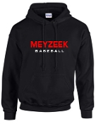 Meyzeek Baseball Black Hooded sweatshirt 50/50 blend G18500