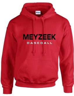 Meyzeek Baseball Red Hooded sweatshirt 50/50 blend G18500
