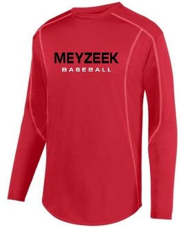 Meyzeek Baseball Red Polyester fleece pullover Aug 5542