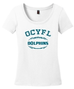 OCYFL Dolphins Ladies White scoop neck DM106L
