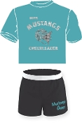 OCYFL Mustangs Cheer pack shirt and shorts G8000/M037