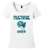 OCYFL Mustangs Cheer White scoop neck DM106L