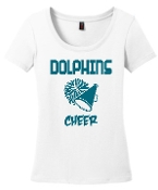 OCYFL Dolphins Cheer White scoop neck DM106L