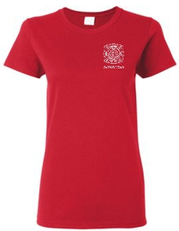 Buechel Fire EMS Support Team LADIES CUT Red T shirt G5000L
