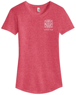 Buechel Fire EMS Support Team Womens Htr Red round neck 6750L