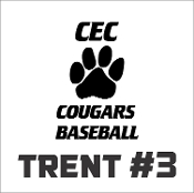 CEC Baseball Car decal includes player name & #