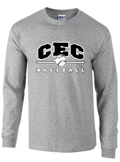 CEC Baseball Long slv Spt Gray T-shirt 50/50 blend G2400