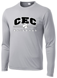 CEC Baseball Wicking Long slv Silver T-shirt ST350LS/YST350LS
