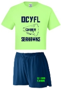 OCYFL Seahawks Cheer pack shirt and shorts G8000/988